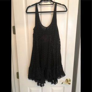 Free People Black Lace Trapeze Dress